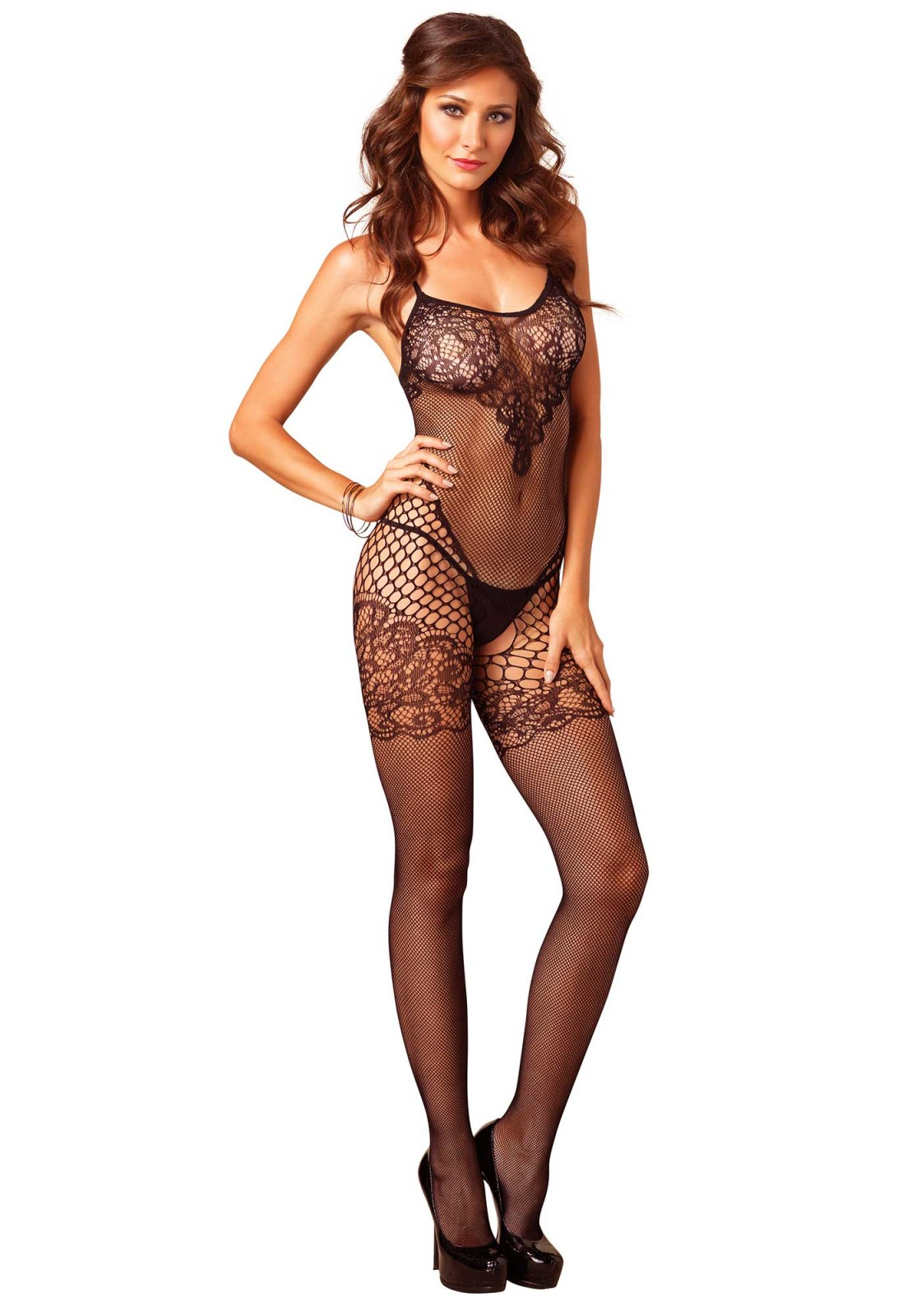 Sultry brunette model Roxy Raye posing in mesh bodystocking and glasses  267787